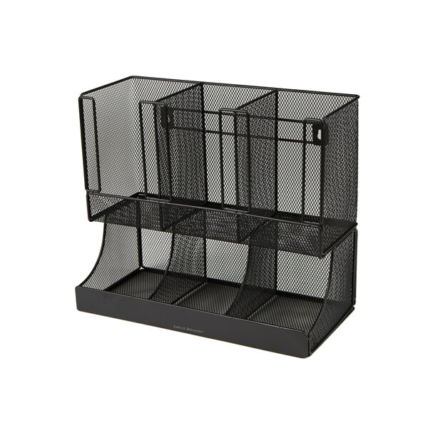 Metal Mesh Flume 6 Compartment Coffee Condiment and Cup Organizer by Mind Reader