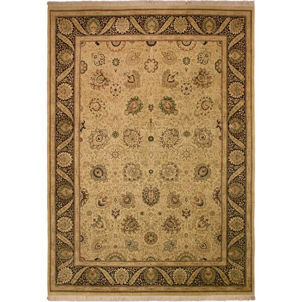 One-of-a-Kind Delron Hand-Knotted Wool Tan/Black Area Rug by Astoria Grand