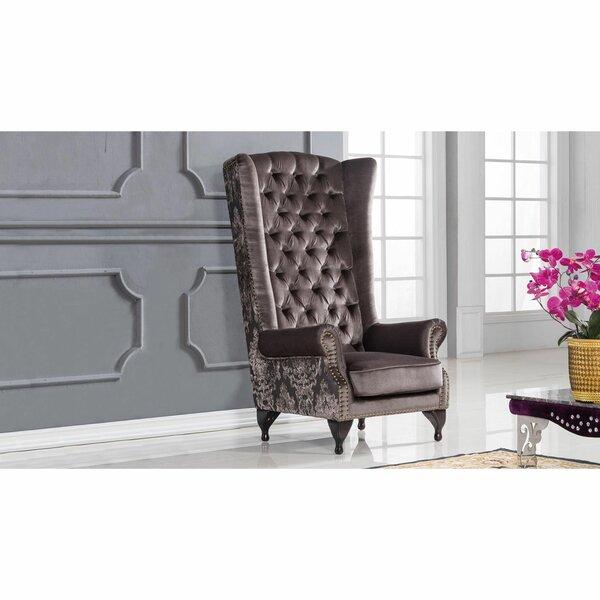 Jorgensen Velvet Upholstered Wooden Armchair by Rosdorf Park