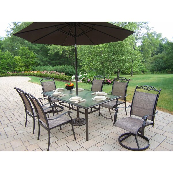 Basile 7 Piece Dining Set with Umbrella by August Grove