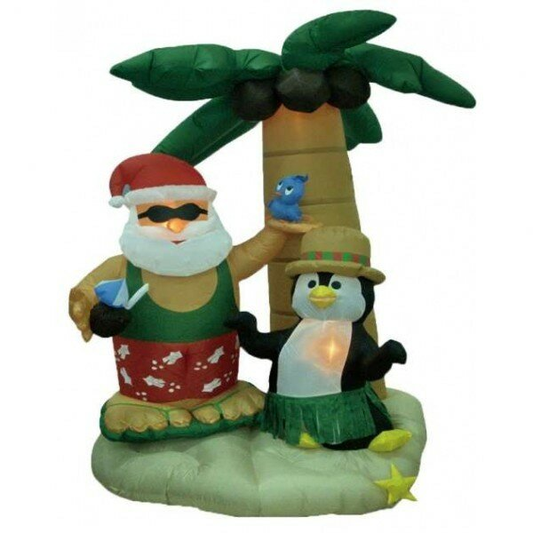 Christmas Inflatable Santa Claus on Vacation Decoration by The Holiday Aisle
