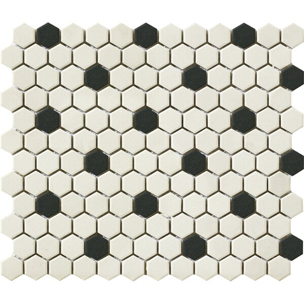 Urban 1 x 1 Porcelain Mosaic Tile in Off White/Black Hexagon by Walkon Tile