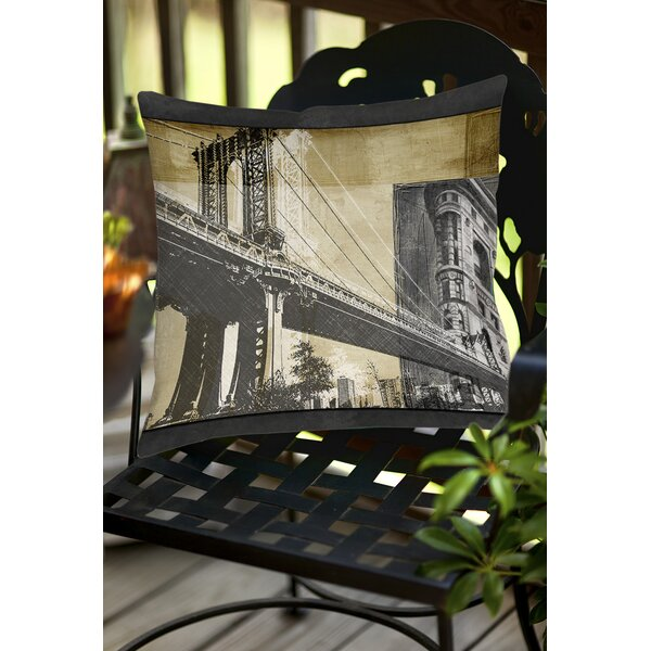 Metropolitan Collage 2 Indoor/Outdoor Throw Pillow by Manual Woodworkers & Weavers