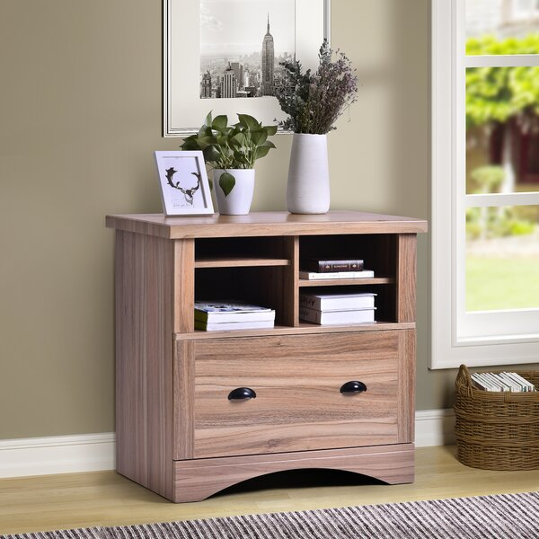 Wood Lateral File Cabinet With Two Adjustable Shelves And Lock