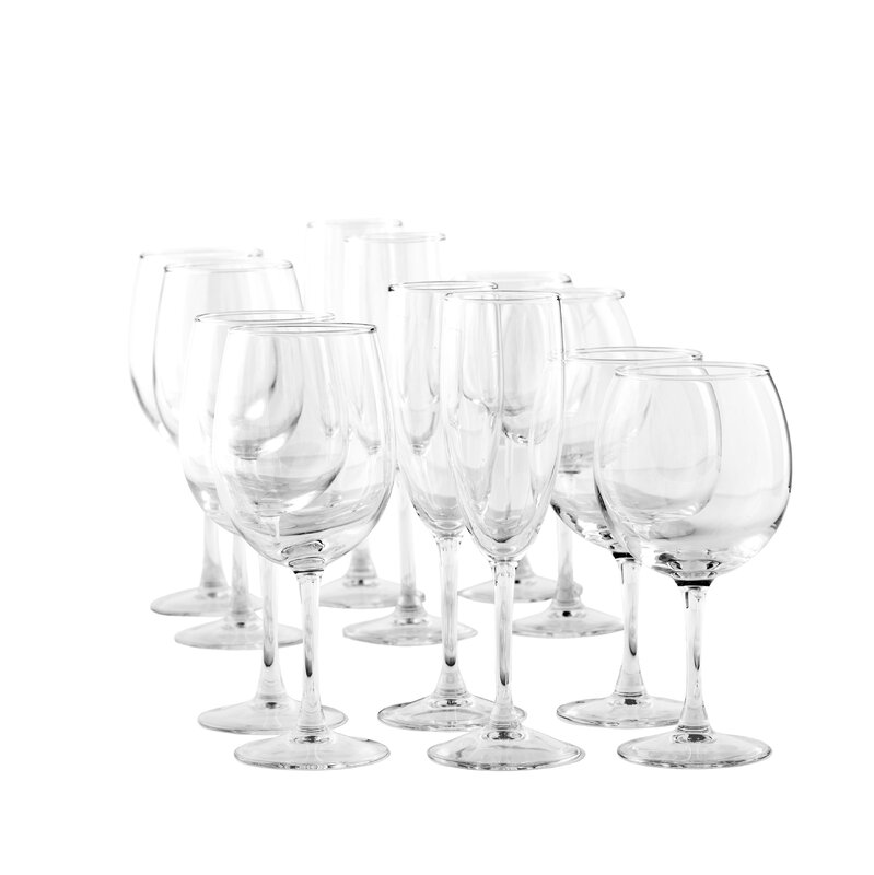 12 Piece Assorted Stem Glass Set