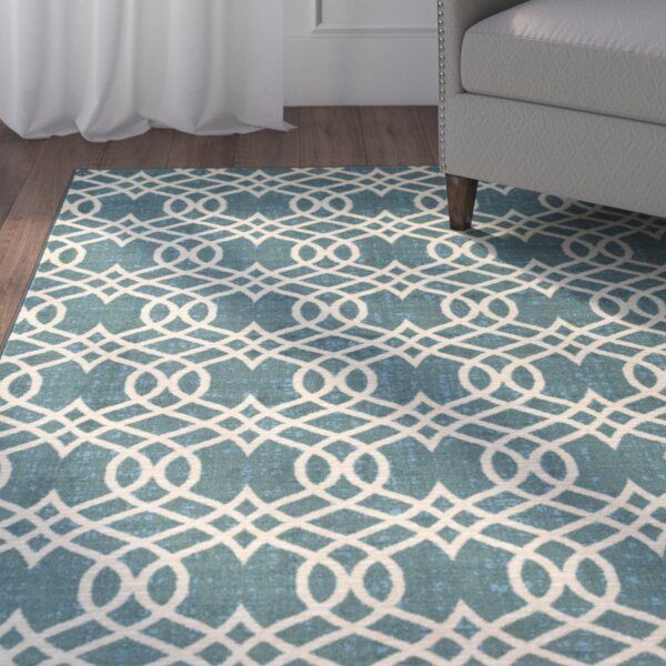 Hardenburgh Aqua/Beige Area Rug by Alcott Hill