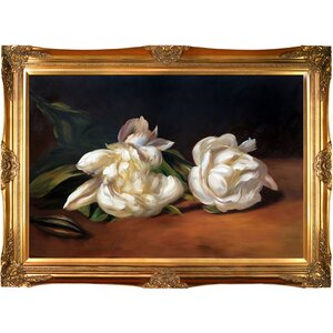 'Branch of White Peonies with Pruning Shears' by Edouard Manet Framed Painting Print on Wrapped Canvas by Astoria Grand