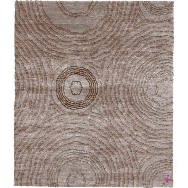One-of-a-Kind Valdes Hand-Knotted Tibetan Brown 10' Round Wool Area Rug