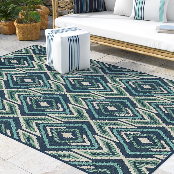 Kailani Contemporary Navy/Green Indoor/Outdoor Area Rug by Beachcrest Home