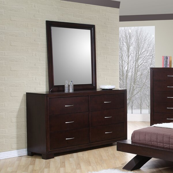 Linkwood 6 Drawer Double Dresser with Mirror by Wrought Studio