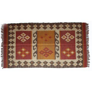 feature Order One-of-a-Kind Filbert Handmade Kilim 4' x 6' Red/Green/Yellow Indoor/Outdoor Area Rug By Isabelline