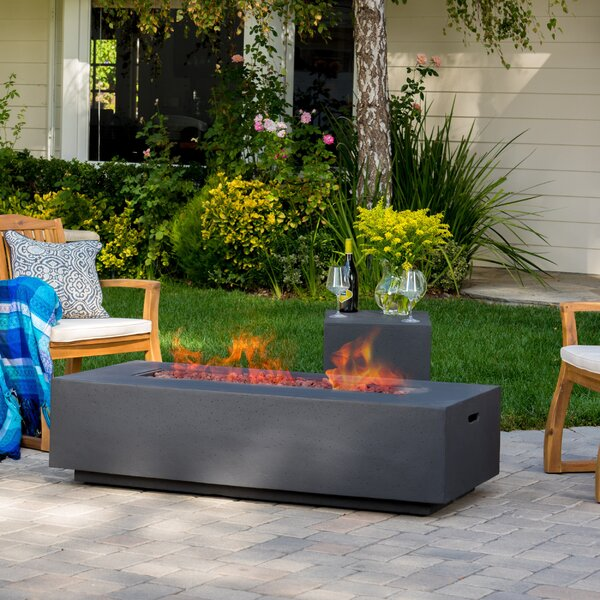 Belle Stone Propane Fire Pit Table by Orren Ellis
