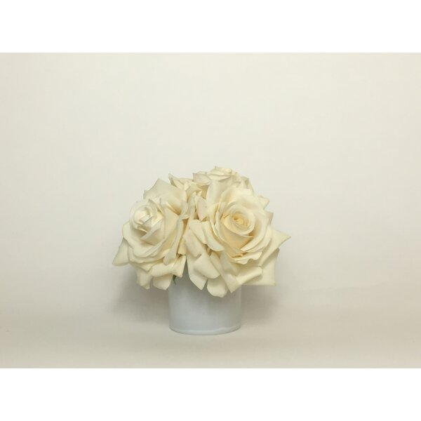 Artificial Silk Roses Floral Arrangement in Decorative Vase by Mercer41