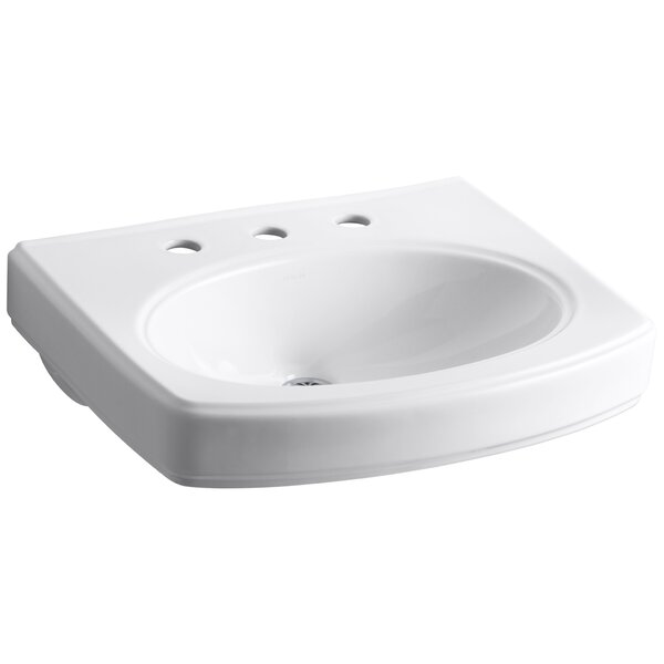 Pinoir Ceramic 30 Wall Mount Bathroom Sink with Overflow by Kohler