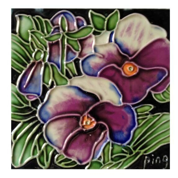 Pansy Tile Wall Decor by Continental Art Center