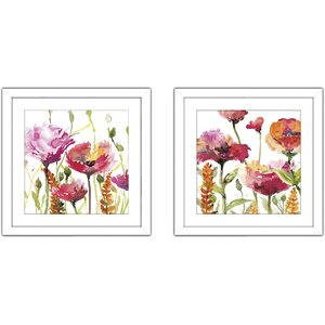 'Blooms And Buds' 2 Piece Framed Watercolor Painting Print Set by August Grove