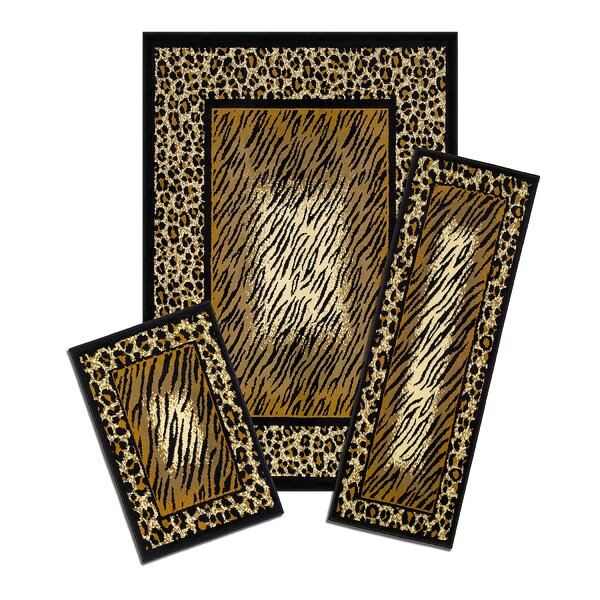 Capri 3 Piece Brown Leopard Skin Area Rug Set by Achim Importing Co