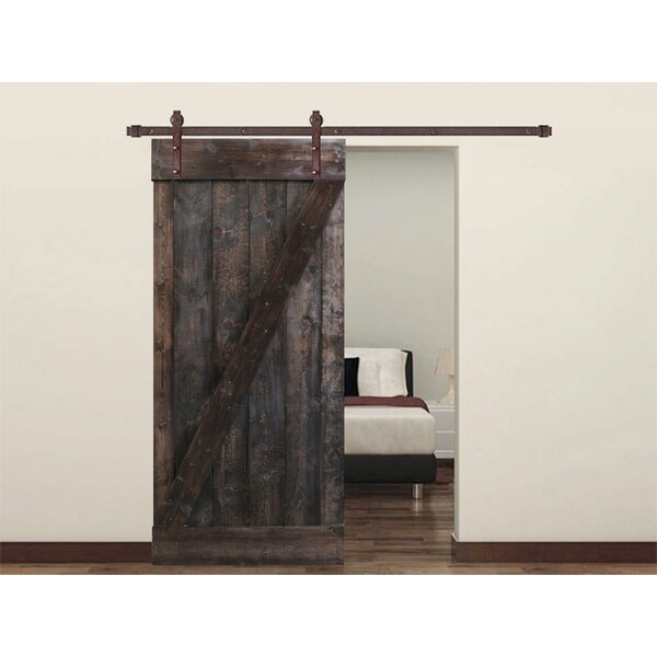 Knotty Pine Solid Wood Panelled Slab Interior Barn Door by Calhome