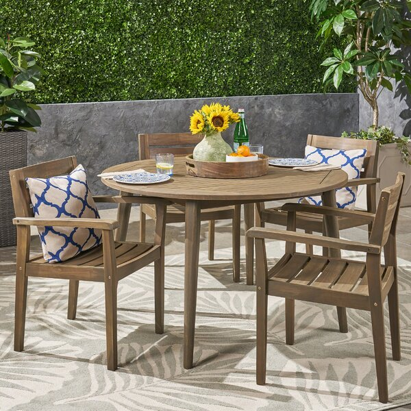 Ramage Outdoor Acacia Wood 5 Piece Dining Set by Gracie Oaks