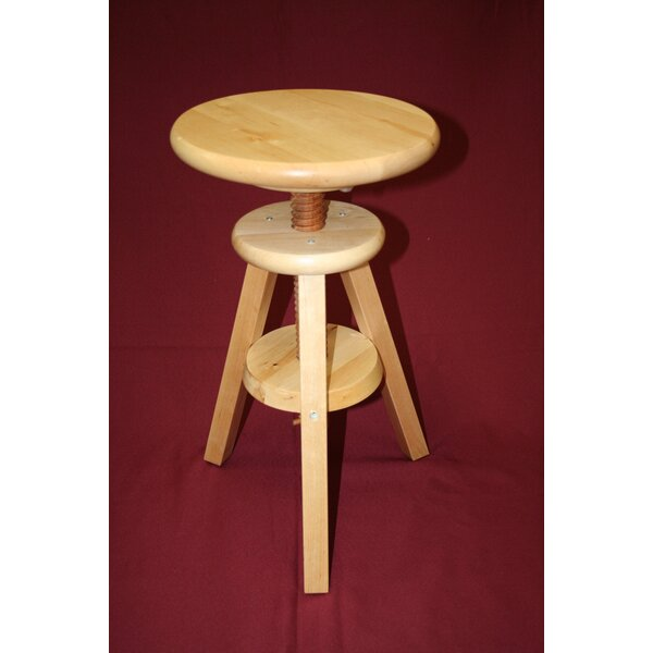 Wooden Adjustable Height Swivel Bar Stool by eHemco