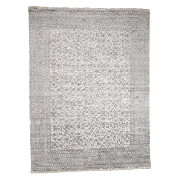 One-of-a-Kind Neuman Broken Mahi and Oriental Hand-Knotted Silk Ivory Area Rug by Williston Forge