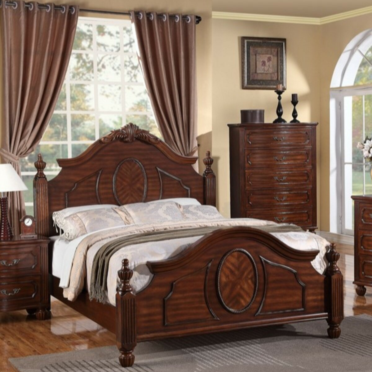 Natural Full Size 12 Inch Grand Solid Wood Platform Bed Frame Crown Comfort