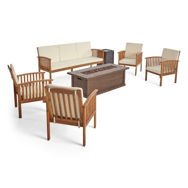 Brice Outdoor 7 Piece Sofa Seating Group with Cushions by Longshore Tides