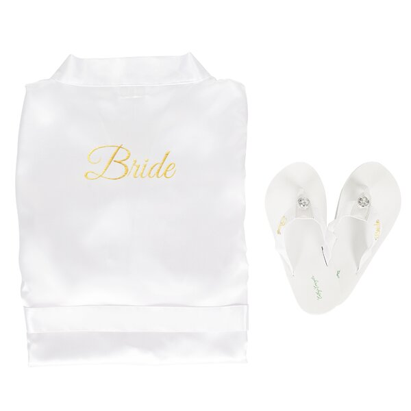 Bride Satin with Flip Flops Bathrobe by Cathys Concepts