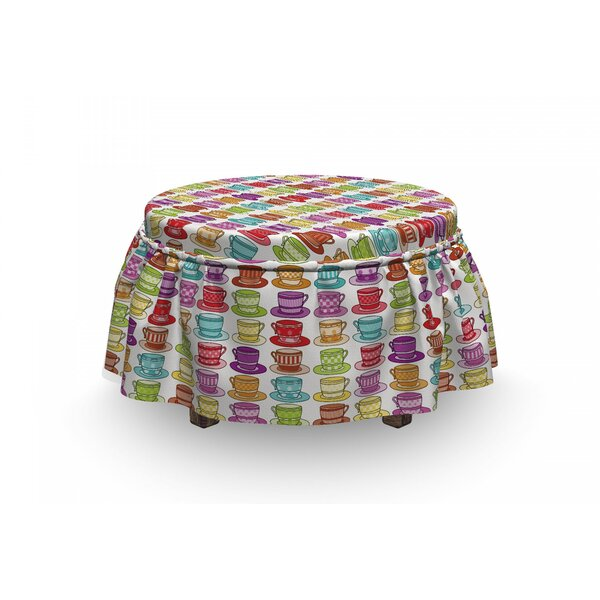 Tea Party Cup Design 2 Piece Box Cushion Ottoman Slipcover Set By East Urban Home