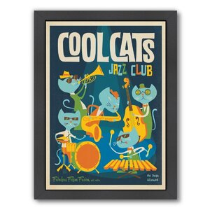 Cool Cats Jazz Framed Vintage Advertisement by East Urban Home