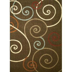 Chester Brown Scroll Area Rug