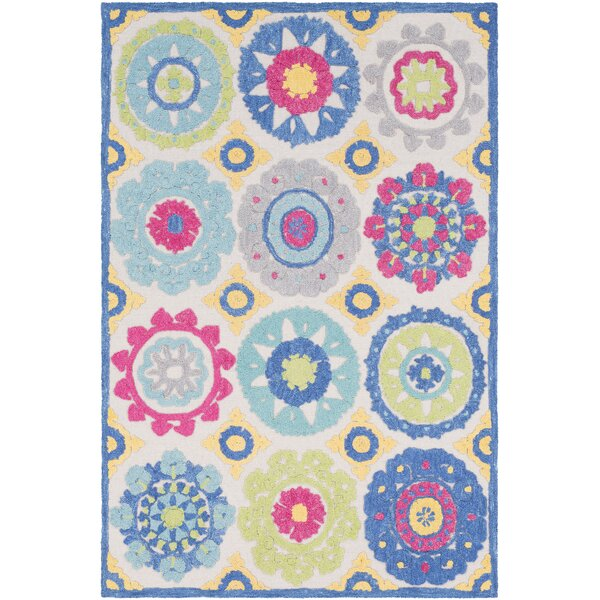 Withams Floral Hand Tufted Wool Aqua/Bright Blue Area Rug by Bungalow Rose
