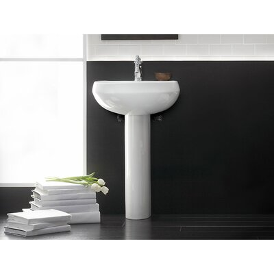 Kohler Pedestal Sink Ceramic Overflow Sink Faucet Mount Single Bathroom Sinks