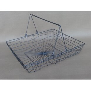 Wire basket table wayfair a shallow rectangular handle wire basket greentooth Image collections