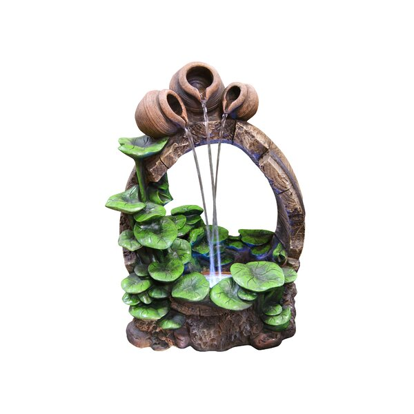 Fiberglass Barrel Pot Cascading Tabletop Fountain with LED Light by Alpine