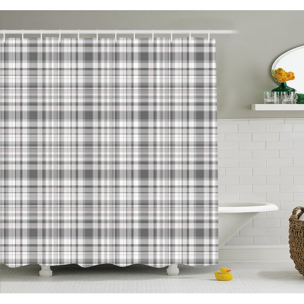 Pattern with Modified Stripes Crossed Horizontal and Vertical Lines Forming Squares  Shower Curtain Set by Ambesonne