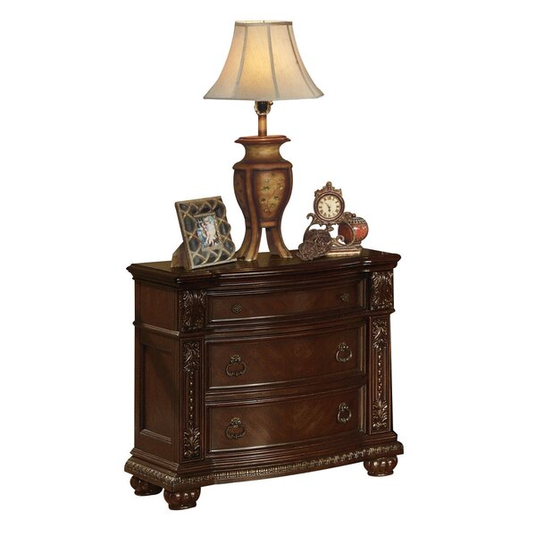 Michaels Traditional Wooden 3 Drawer Nightstand by Astoria Grand