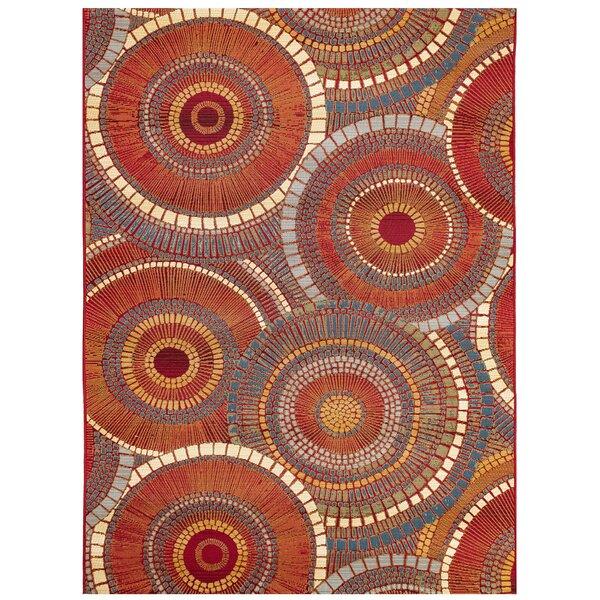 Michaella Circles Saffron Indoor/Outdoor Area Rug by World Menagerie