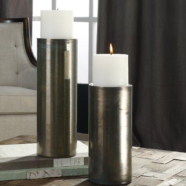 Iridescent 2 Piece Glass Candlestick Set by Orren Ellis