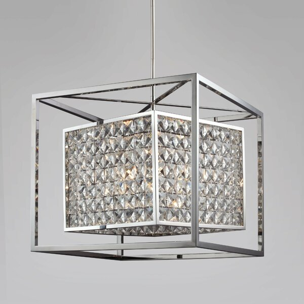 Honora 6 - Light Unique / Statement Rectangle / Square Chandelier with Beaded Accents by Everly Quinn Everly Quinn