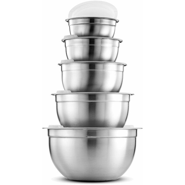 Premium 5 Piece Stainless Steel Mixing Bowl Set by FD Brand