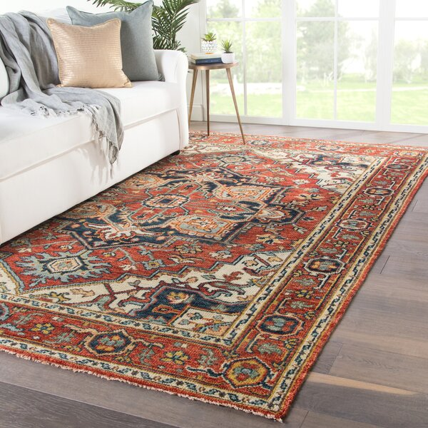 Dannie Hand-Knotted Wool Red/Beige Area Rug by Bloomsbury Market
