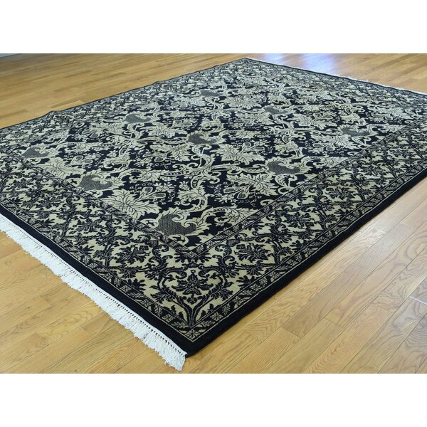 One-of-a-Kind Betterton William Morris Design Handwoven Black Wool Area Rug by Isabelline