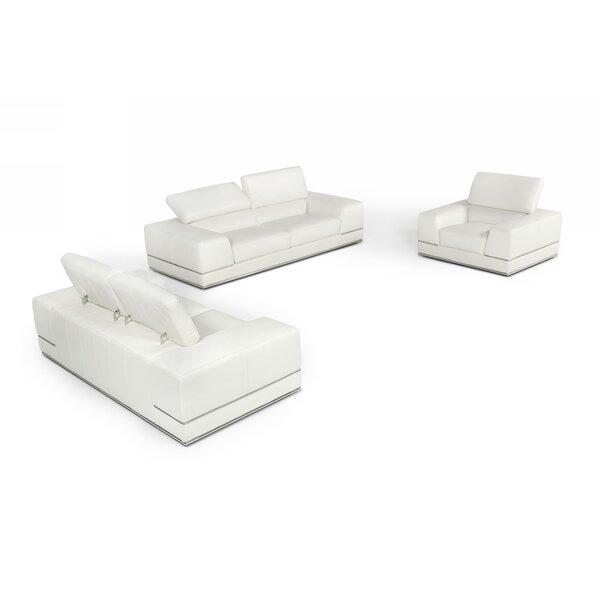 Crissi Leather 3 Piece Living Room Set by Orren Ellis
