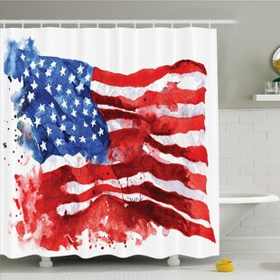 Affordable American Flag National Paint Brush Watercolor Digital Stroke Messy Graffiti Artsy Decor Shower Curtain Set ByEast Urban Home