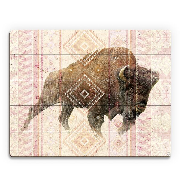 Tribal Buffalo Graphic Art on Plaque by Click Wall Art