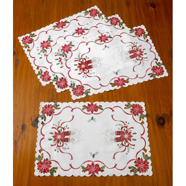 Delsur Embroidered Poinsettias Candles 14 Placemat (Set of 4) by The Holiday Aisle