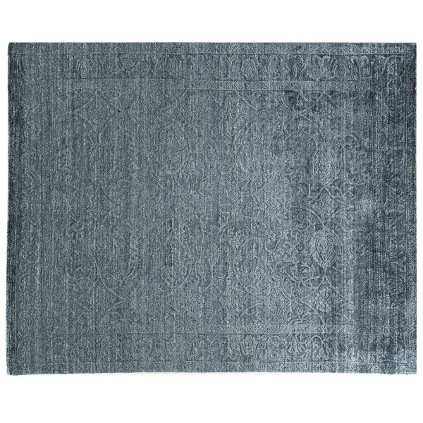 Iris Hand Knotted Silk Blue Area Rug by Exquisite Rugs