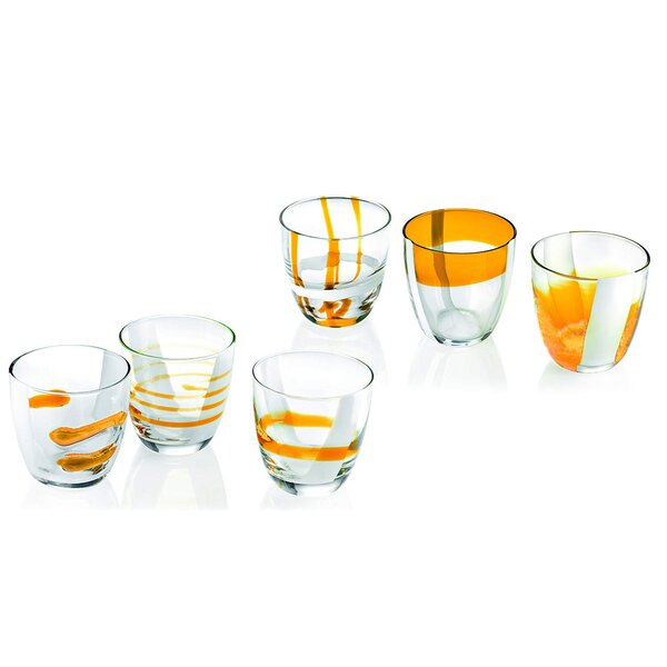 Assorted Designs 10.9 oz. Glass Every Day Glasses (Set of 6) by Guzzini