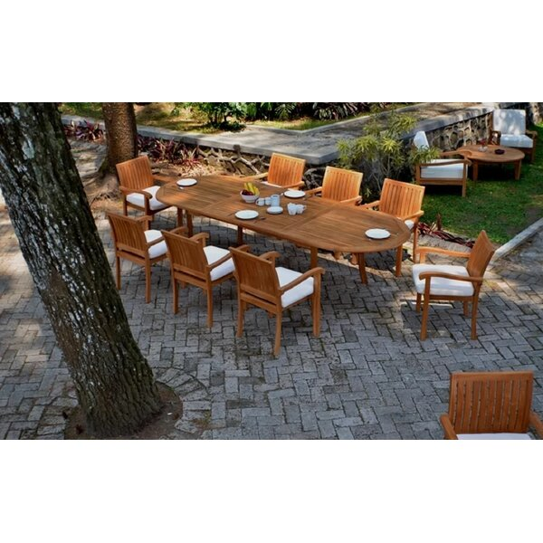 Teddy Luxurious 9 Piece Teak Dining Set by Rosecliff Heights